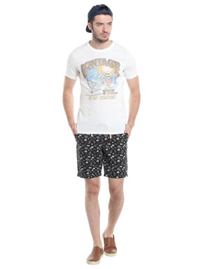 Black Printed Chino Shorts