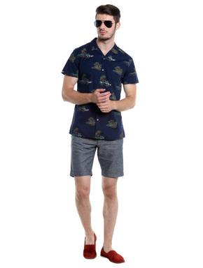 Grey Chino Linen Shorts