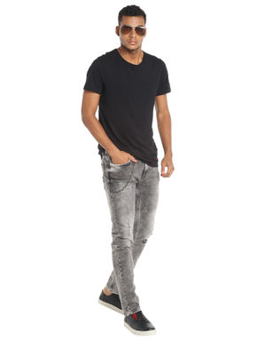 Grey Heavy Distressed Slim Fit Jeans