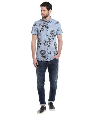 Blue Floral Print Slim Fit Shirt