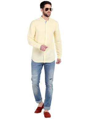 Yellow Mandarin Collar Shirt