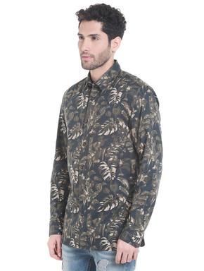 Black Tropical Print Long Sleeves Shirt