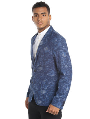 Dark Blue Printed Blazer