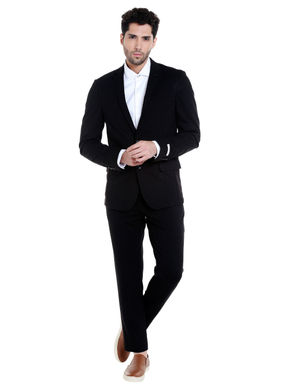 Black Printed Slim Fit Blazer