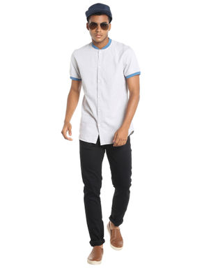 Off White Colour Blocked Slim Fit Shirt