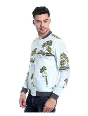 Light Blue Palm Tree Print Bomber Jacket