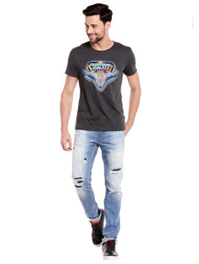 Blue Ripped Slim Fit Jeans