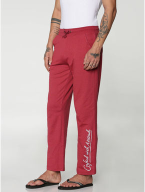 Red Side Text Print Drawstring Trackpants