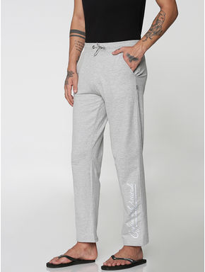 Light Grey Side Text Print Trackpants