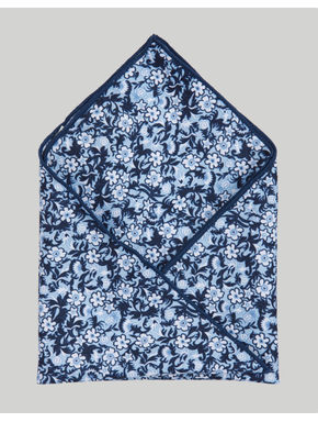 Blue Floral Print Pocket Square