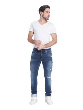 Dark Blue Distressed Skinny Jeans