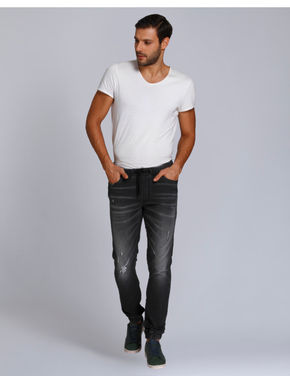Grey Mild Distressed Skinny Fit Denim Joggers