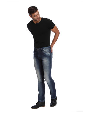 Blue Mild Distressed Mid Rise Regular Fit Jeans