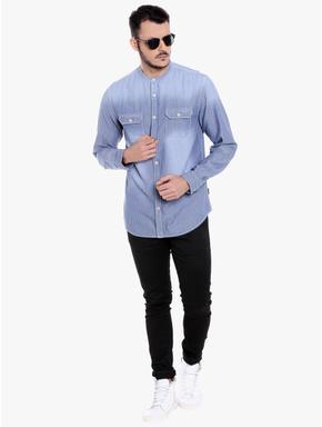 Blue Mandarin Collar Striped Linen Shirt