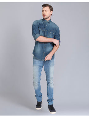 Dark Blue Denim Text Print Shirt
