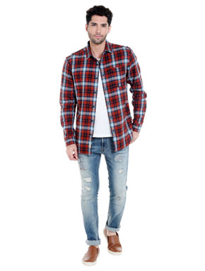 Red & Blue Check Slim Fit Shirt
