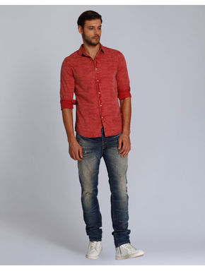 Red Textured Slim Fit Shirt