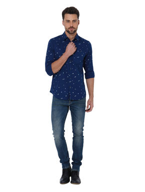 Dark Blue Triangle Print Slim Shirt