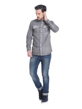 Grey Over Dyed Slim Fit Shirt