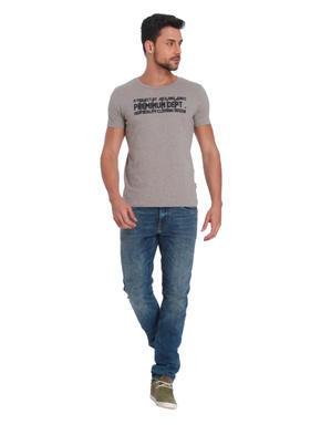 Grey Text Print Crew Neck T-Shirt