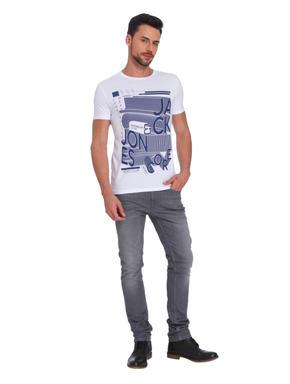 White & Blue Printed Crew Neck T- Shirt