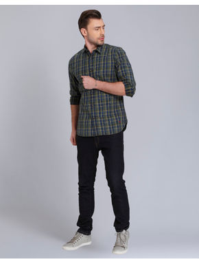 Green Check Slim Fit Shirt