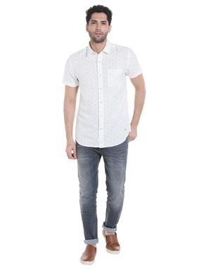 White Anchor Print Linen Shirt