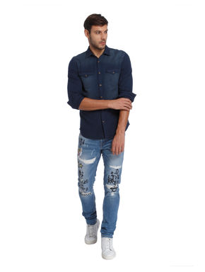 Gradient Blue Slim Fit Shirt