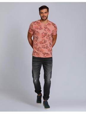 Peach Leaf Print Crew Neck T-Shirt