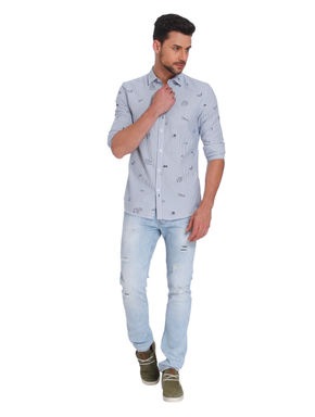 Blue Striped Quirky Print Slim Fit Shirt