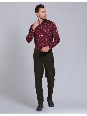 Maroon Butterfly Print Slim Fit Shirt