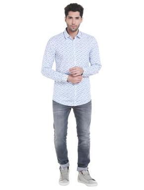 Blue Leaf Print Shirt