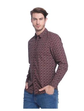 Brown Printed Slim Fit Check Shirt