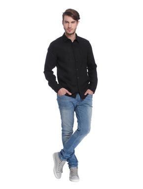 Black Linen Slim Fit Shirt
