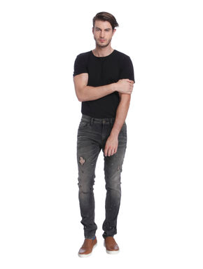 Grey Distressed Skinny Fit Jeans