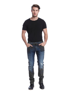Blue Colour Blocked Low Distressed Slim Fit Jeans