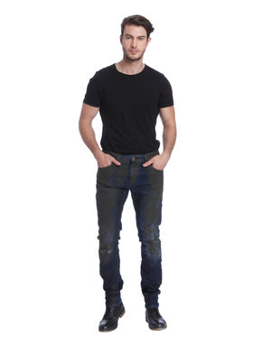 Blue Textured Slim Fit Jeans
