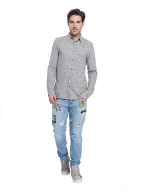 Light Grey Textured Slim Fit Shirt