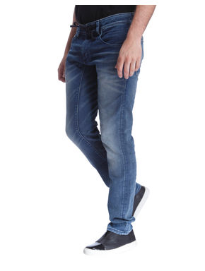 Blue Drawstring Slim Fit Jeans