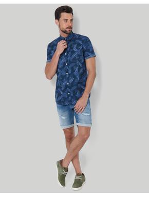Blue Tropical Print Shirt
