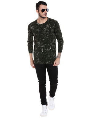 Olive Green All Over Print Pullover