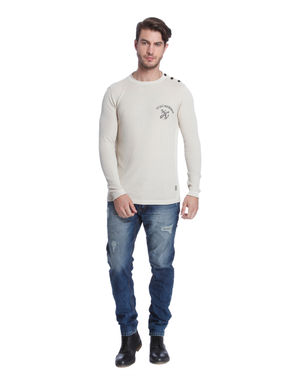 Off White Crew Neck Knit Pullover