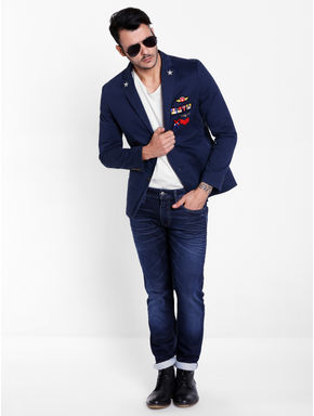 Dark Blue Badge Detail Blazer