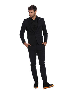 Dark Blue Textured Slim Fit Blazer