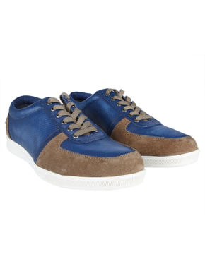 Brown & Blue Leather Sneakers