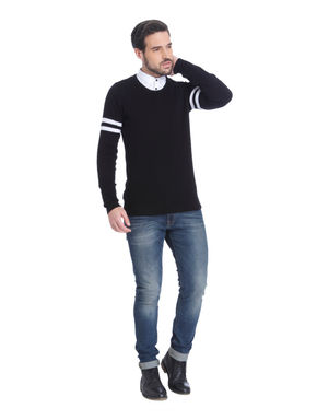 Black and White Placement Print Sweatshirt