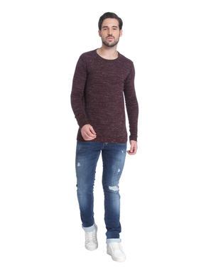Red Knit Crew Neck Sweatshirt