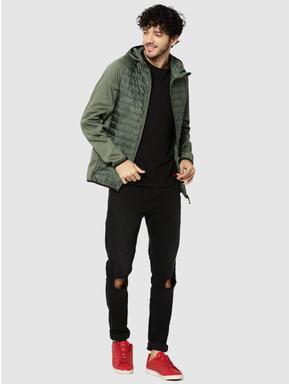 Green Camo Print Hooded Bomber Jacket