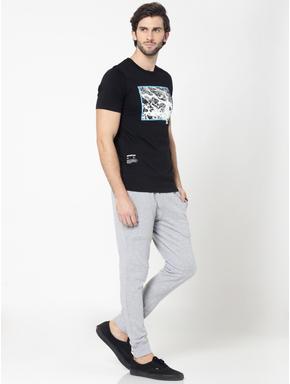 Black Photo Print Crew Neck T-Shirt