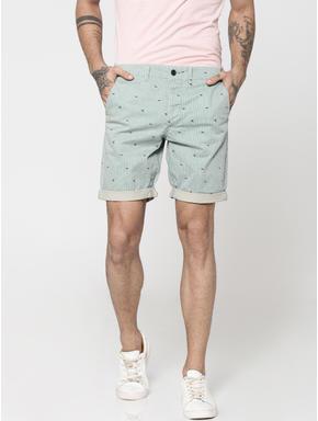 Green Striped Bird Print Chino Slim Shorts